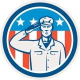 Αμερικανικός κύκλος σημαιών χαιρετισμού στρατιωτών αναδρομικός απεικόνιση αποθεμάτων