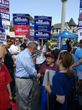 Αμερικανικός πολιτικός, Ηνωμένος γερουσιαστής από το Νιου Τζέρσεϋ, Robert Menendez, επαναληπτική εκλογική εκστρατεία στοκ φωτογραφία