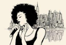 Αμερικανικός τραγουδιστής τζαζ Afro Στοκ Εικόνα