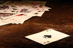Αμερικανικός δυτικός άσσος της παλαιάς δυτικής κάρτας πόκερ φτυαριών Στοκ εικόνα με δικαίωμα ελεύθερης χρήσης