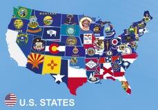 Αμερικανικός χάρτης με τις σημαίες των κρατών απεικόνιση αποθεμάτων