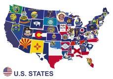 Αμερικανικός χάρτης με τις σημαίες των κρατών διανυσματική απεικόνιση