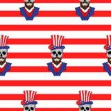 Αμερικανικό άνευ ραφής σχέδιο με τα κρανία με μια γενειάδα στο αμερικανικό καπέλο Στοκ Φωτογραφία