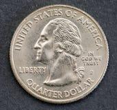 Αμερικανικό απομονωμένο νόμισμα υπόβαθρο τετάρτου George Ουάσιγκτον Στοκ Φωτογραφία