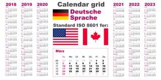 Αμερικανικό ημερολόγιο τυποποιημένες ΗΠΑ Η γερμανική εβδομάδα του 2023 του 2022 του 2021 του 2020 γλωσσικού το 2018 το 2019 Deuts απεικόνιση αποθεμάτων
