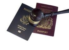 Αμερικανικό διαβατήριο, UK, νομική εικόνα έννοιας νόμου της ΕΕ Στοκ φωτογραφία με δικαίωμα ελεύθερης χρήσης
