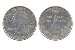 Αμερικανικό νόμισμα δολαρίων τετάρτου Στοκ εικόνα με δικαίωμα ελεύθερης χρήσης