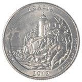 Αμερικανικό νόμισμα τετάρτου - εθνικό πάρκο acadia Στοκ φωτογραφία με δικαίωμα ελεύθερης χρήσης