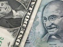 Αμερικανικό δολάριο και ινδική ρουπία Στοκ Εικόνα