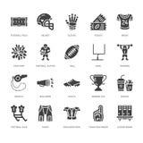 Αμερικανικό ποδόσφαιρο, διανυσματικά επίπεδα εικονίδια glyph ράγκμπι Στοιχεία αθλητικών παιχνιδιών - η σφαίρα, τομέας, παίκτης, κ ελεύθερη απεικόνιση δικαιώματος