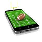 Αμερικανικό ποδόσφαιρο σε Smartphone, αθλητισμός App Στοκ φωτογραφίες με δικαίωμα ελεύθερης χρήσης