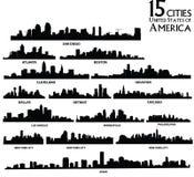 αμερικανικό πόλεων διάνυσμα οριζόντων απεικόνισης καθορισμένο στοκ εικόνα με δικαίωμα ελεύθερης χρήσης