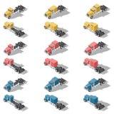Αμερικανικό σύνολο εικονιδίων φορτηγών isometric χαμηλό πολυ Στοκ Φωτογραφία