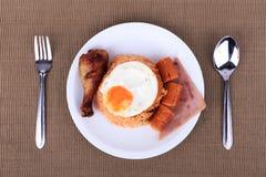 Αμερικανικό σύνολο προγευμάτων ύφους, αμερικανικό τηγανισμένο ρύζι Στοκ Εικόνα