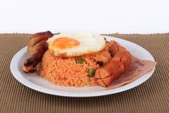 Αμερικανικό σύνολο προγευμάτων ύφους, αμερικανικό τηγανισμένο ρύζι Στοκ Φωτογραφίες