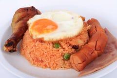 Αμερικανικό σύνολο προγευμάτων ύφους, αμερικανικό τηγανισμένο ρύζι Στοκ Εικόνες