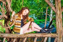 Αμερικανικό ταξίδι έφηβη, που χαλαρώνει στο Central Park, νέο Υ Στοκ Φωτογραφίες