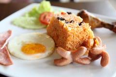 Αμερικανικό τηγανισμένο σύνολο προγευμάτων ρυζιού Στοκ Εικόνες