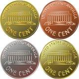 Αμερικανικό χρυσό νόμισμα χρημάτων ένα σεντ, πένα ελεύθερη απεικόνιση δικαιώματος