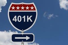 Αμερικανικό 401K οδικό σημάδι εθνικών οδών Στοκ φωτογραφία με δικαίωμα ελεύθερης χρήσης