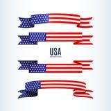 Αμερικανικών σημαιών κορδελλών αστεριών ΑΜΕΡΙΚΑΝΙΚΗ σημαία θέματος λωρίδων πατριωτική αμερικανική ενός κυματιστού στοιχείου σχεδί διανυσματική απεικόνιση