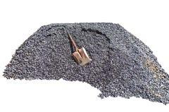 Αμμοχάλικο, άμμος, κάρρο, πέτρα και φτυάρι στη δημιουργική σύσταση στοκ φωτογραφία με δικαίωμα ελεύθερης χρήσης