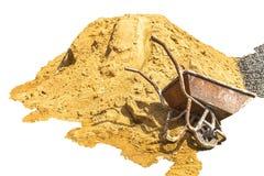 Αμμοχάλικο, άμμος, κάρρο, πέτρα και φτυάρι στη δημιουργική σύσταση στοκ φωτογραφίες με δικαίωμα ελεύθερης χρήσης