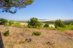 Αμμόλοφοι κοντά στο ψαροχώρι Nida, οβελός Curonian, η θάλασσα της Βαλτικής, Lith στοκ φωτογραφίες