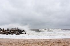 Αμμώδης ακτή του Νιου Τζέρσεϋ προσεγγίσεων τυφώνα Στοκ φωτογραφίες με δικαίωμα ελεύθερης χρήσης