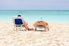 Αμμώδης παράδεισος Playa παραλιών του νησιού Cayo βραδύτατου, Κούβα Διάστημα αντιγράφων για το κείμενο Στοκ Εικόνα