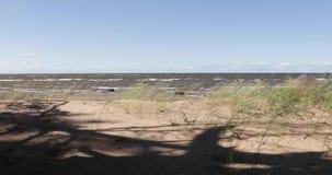 Αμμώδης παραλία και η θάλασσα το απόγευμα απόθεμα βίντεο