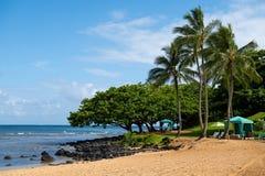 Αμμώδης παραλία σε Princeville Kauai, Χαβάη στοκ εικόνες με δικαίωμα ελεύθερης χρήσης