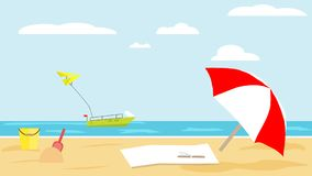 Αμμώδης παραλία στο θερινό τροπικό θέρετρο Κάδος μωρών και φτυάρι, β στοκ εικόνα με δικαίωμα ελεύθερης χρήσης