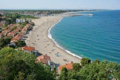 Αμμώδης μεσογειακή παραλία Γαλλία Mer Argeles sur Στοκ φωτογραφία με δικαίωμα ελεύθερης χρήσης
