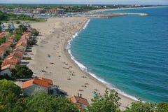 Αμμώδης μεσογειακή παραλία Argeles sur Mer Γαλλία Στοκ φωτογραφίες με δικαίωμα ελεύθερης χρήσης