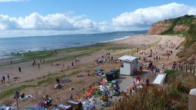 Αμμώδης παραλία κόλπων σε Exmouth Devon UK Στοκ εικόνα με δικαίωμα ελεύθερης χρήσης