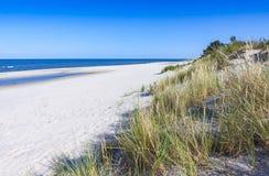 Αμμώδης παραλία στη χερσόνησο Hel, η θάλασσα της Βαλτικής, Πολωνία Στοκ Φωτογραφία