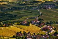 Αμπελώνες και μικρή πόλη Piedmont, Ιταλία όπως βλέπει άνωθεν Στοκ Εικόνες