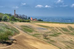 Αμπελώνες Oltrepo Pavese τον Απρίλιο στοκ φωτογραφίες