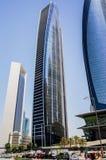 Αμπού Νταμπί Καλοκαίρι 2016 Ουρανοξύστες στη σύγχρονη μητρόπολη του αραβικού πολιτισμού στις ακτές του αραβικού Κόλπου στοκ εικόνες με δικαίωμα ελεύθερης χρήσης