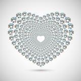 λαμπρό μαλακό λευκό καρδιών εστίασης διαμαντιών ανασκόπησης Στοκ Εικόνα
