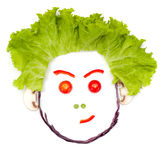 Αμφιβάλλοντας, δύσπιστο ανθρώπινο κεφάλι φιαγμένο από λαχανικά Στοκ εικόνες με δικαίωμα ελεύθερης χρήσης