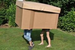 Αμφιθαλείς με το κουτί από χαρτόνι στοκ φωτογραφία