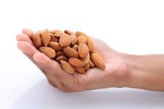 Αμύγδαλα στα χέρια Καρύδια αμυγδάλων, ακατέργαστα τρόφιμα στοκ εικόνα