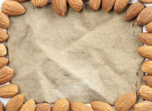 αμύγδαλο πλαισίων, ομάδα αμυγδάλων και εκλεκτής ποιότητας βαμβάκι υφάσματος στοκ εικόνες