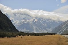 ΑΜ Cook και σύννεφα, Νέα Ζηλανδία Στοκ Φωτογραφία
