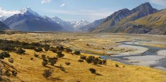 ΑΜ Cook, τοπίο φθινοπώρου βουνών, Νέα Ζηλανδία Στοκ Εικόνα