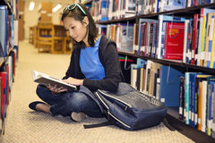Ανάγνωση στη βιβλιοθήκη στοκ φωτογραφίες