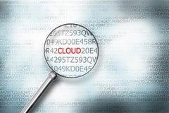Ανάγνωση του σύννεφου λέξης στη οθόνη υπολογιστή με τα glas μιας ενίσχυσης Στοκ φωτογραφία με δικαίωμα ελεύθερης χρήσης