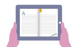 Ανάγνωση eBook στην ταμπλέτα ελεύθερη απεικόνιση δικαιώματος